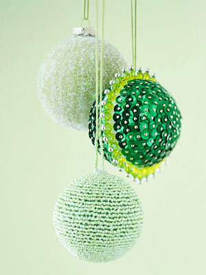 Beaded green ornaments hanging