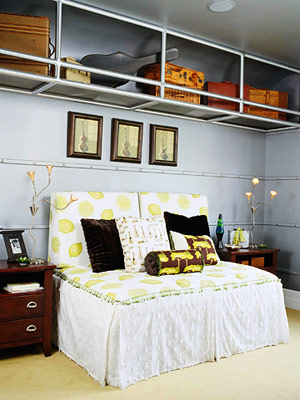 white, lime, and brown bed