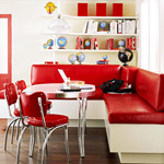 red and white retro banquette