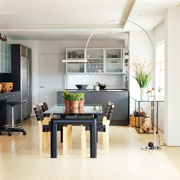 black and gray dining area with green plants