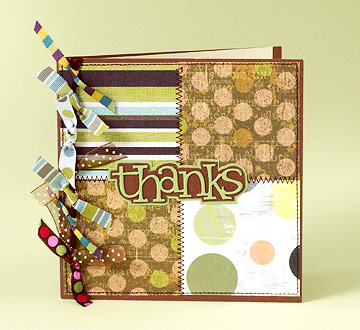 brown and green thank you card