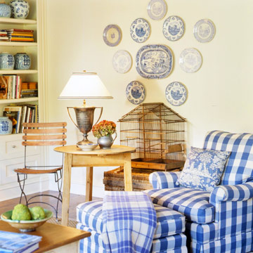 blue and white gingham chair with accessories