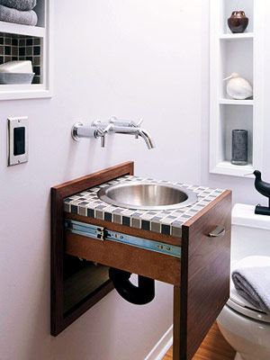 pull out sink in bathroom