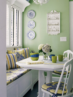 mint green and white breakfast nook