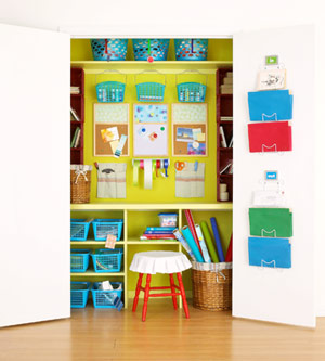 lime green craft closet