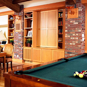 Brick Basement with Pool Table
