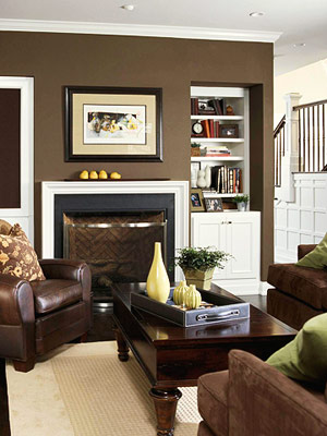 Built-in shelves flanking a fireplace