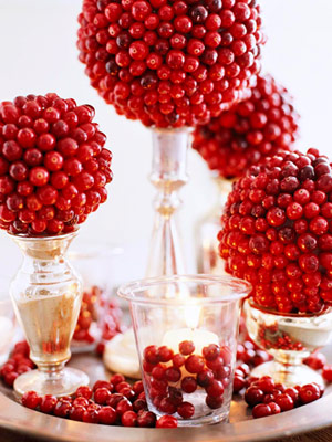 cranberry balls over silver topiaries