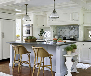 white traditional kitchen with coffered ceiling