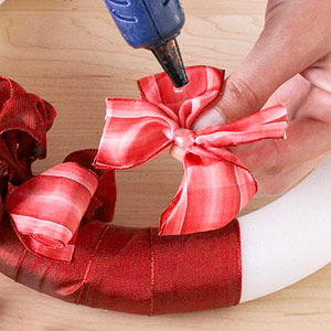 gluing on ribbon bows