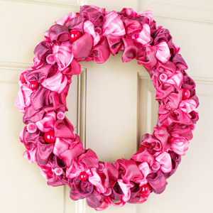 pink wreath with ribbon