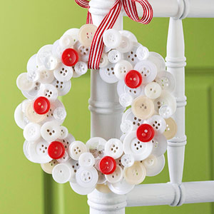 button wreath on chair