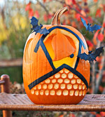 Bats & carved bell pumpkin