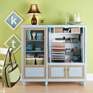 blue and brown scrapbooking storage cabinet
