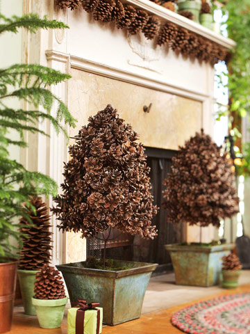 fireplace hearth with pinecone decorations