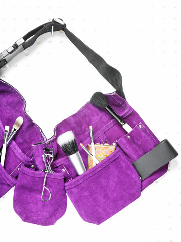 purple tool belt with makeup tools