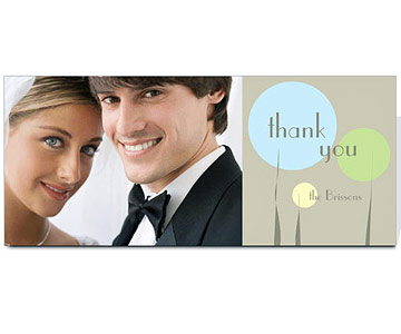 horizontal card with picture of bride and groom