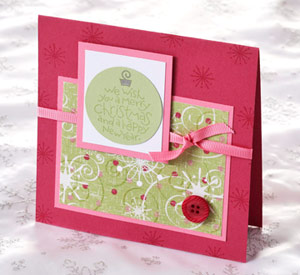 Red, pink card with button