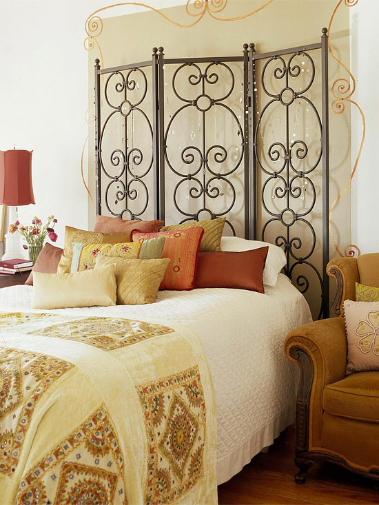 bedroom with iron screen headboard