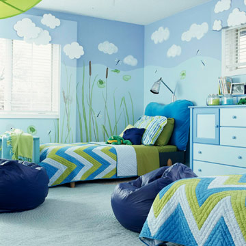 overall of frog theme room