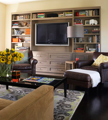 built-in gray wall unit