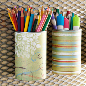 tin cans to pencil holders