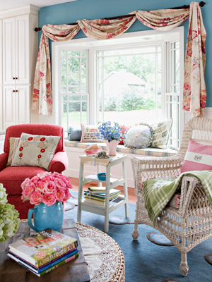 blue and pink sewing room