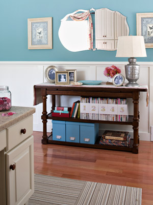 sideboard with magazines