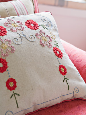 detail of embroidered pillow