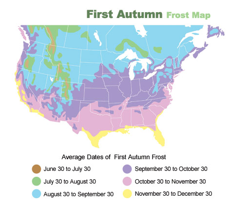 Autumn Frost Zone Map