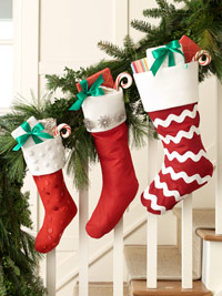 three stockings on staircase
