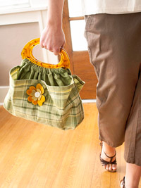green flower patch bag