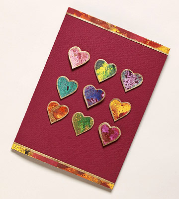 Multi-Heart Marbled Paper card