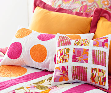 pink and orange pillows