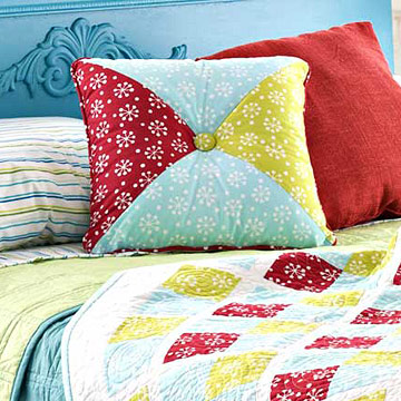 blue green and red pillow