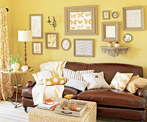 yellow wall with art