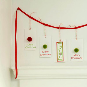 cards hung from red cord
