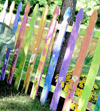 Colorful painted picket fence