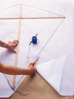 wrapping paper/vellum around kite frame