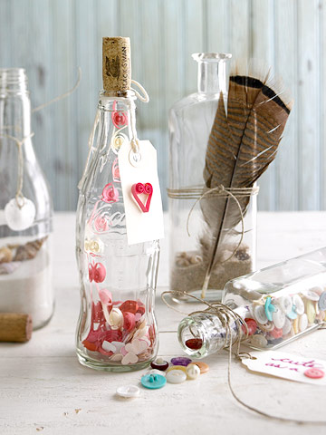 Valentine glass gift bottles