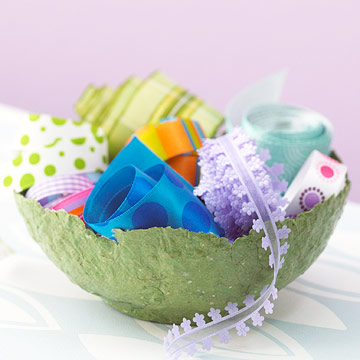 Handmade paper bowl with ribbons