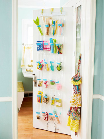 Ideas for Organizing Craft Supplies Pocket Shoe Holder.