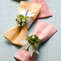Paper napkin rings with posy