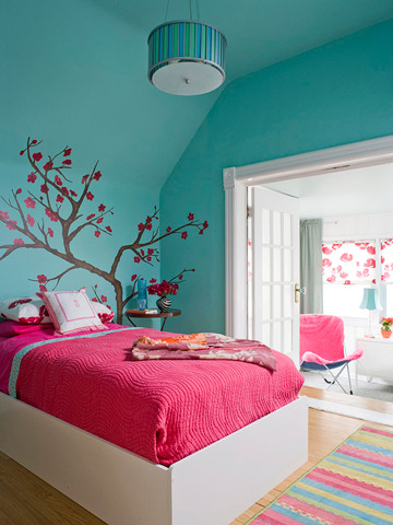 pink and teal girl's room with tree