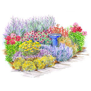 Pastel Retaining Wall Garden Plan