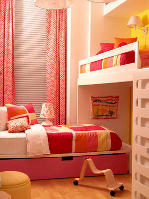 white, red L shaped bunk arrangement