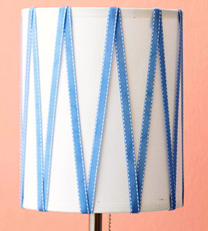 Close-up of zigzag ribbon stripes attached to lampshade using hot glue