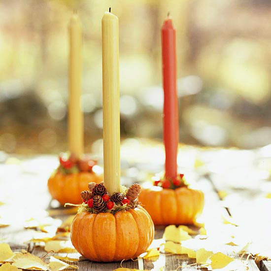 Mini pumpkin candlesticks