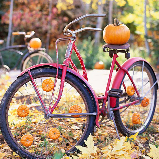 Bicycle with pumpkins