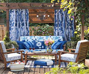 Blue fabric and deck furniture